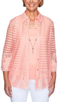 Alfred Dunner Women's Open Cardigans PEACH - Peach Semisheer Geometric Floral Necklace-Accent Layered Top - Women, Petite & Plus