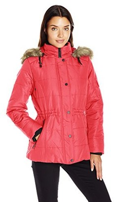 Details Women's Puffer Coat with Black Contrast Trim and Faux-Fur Trimmed Hood
