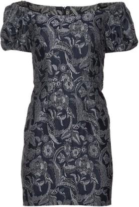 Vasiliki Atelier Iris Blue Brocade Dress Off Shoulder