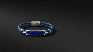 David Yurman Exotic Stone Bar Station Bracelet In Blue Leather With