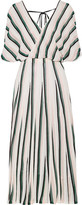 ADAM by Adam Lippes Pleated Striped French-Terry Midi Dress