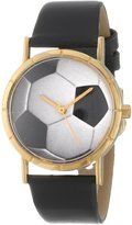 Whimsical Watches Kids' P0840007 Classic Soccer Lover Black Leather And Goldtone Photo Watch