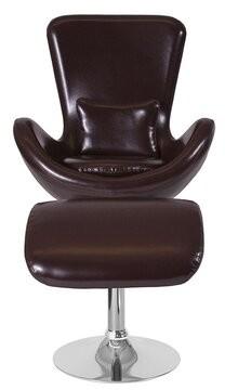 Orren Ellis Halfdan 2 Piece Leather Lounger Chair Set Finish: Brown