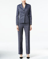 Le Suit Three-Button Herringbone Pantsuit