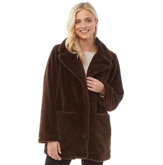 Fluid Womens Long Faux Fur Coat Brown