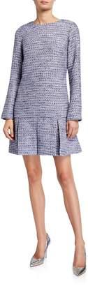 Sail to Sable Tweed Long-Sleeve Box-Pleat Dress
