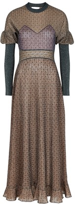 Chloé Panelled metallic-knit dress
