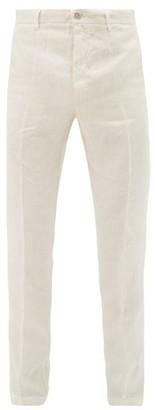 120% Lino Slubbed-linen Poplin Suit Trousers - Mens - Cream