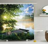 House Decor Shower Curtain by Ambesonne, Fishing Pier by River in the Morning Light with Clouds and Trees Nature Image Decor, Fabric Bathroom Set with Hooks, 69W X 70L Inches Long, Green Blue White