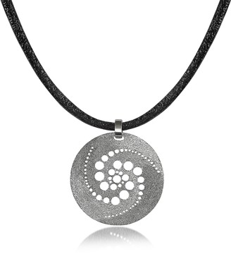 Stefano Patriarchi Silver Etched Crop Circle Round Pendant w/Leather Lace