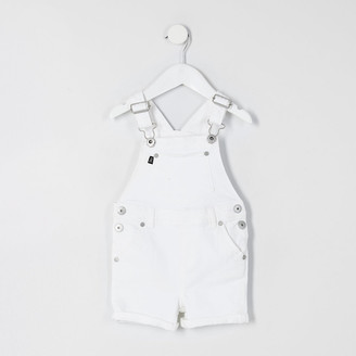 River Island Mini boys white short denim dungaree