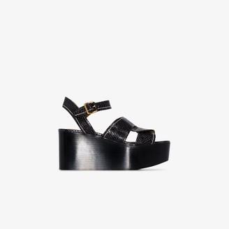 Chloé Black 30 snake print leather platform sandals