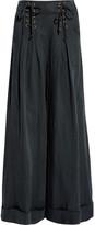 Ulla Johnson Lace-up Pleated Twill Wide-leg Pants - Charcoal