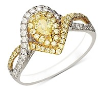 Bloomingdale's White & Yellow Pear Diamond Ring in White & Yellow 14K Gold - 100% Exclusive