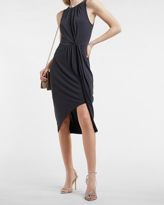 Express Silky Sueded Jersey Gathered Front Midi Dress