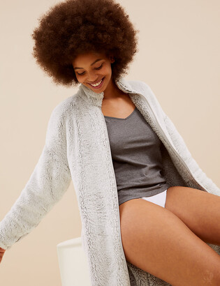 Marks and Spencer Fleece Zip Through Long Dressing Gown