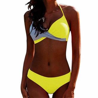 CheChury Women Push up Padded Bikini Set Halter Two Piece Cross Top Swimsuit Patchwork Bathing Suit Monokini Rose