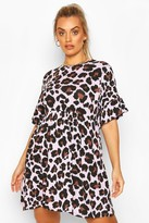 boohoo Plus Leopard Ruffle Smock Dress