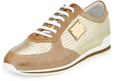 Versace Men's Colorblock Casual Sneaker, Gold