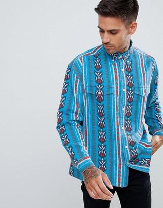 Asos DESIGN regular fit western shirt in geo-tribal print
