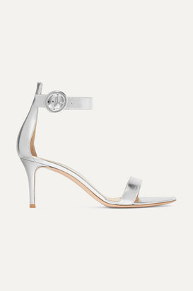 Gianvito Rossi Portofino 70 Metallic Leather Sandals - Silver