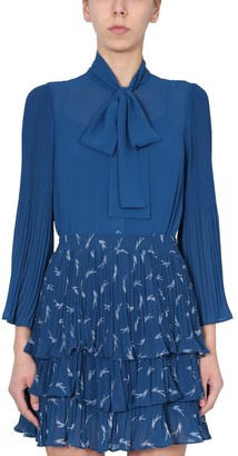 MICHAEL Michael Kors Pussybow Pleated Blouse