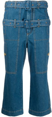 Lanvin Double Belted Cropped Jeans