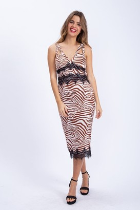 Liquorish Midi Dress with Lace Detail in Brown Zebra Print