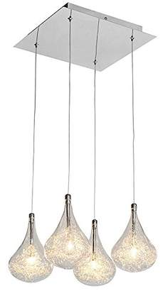 clear Contemporary 4 Light Pear Drop Ceiling Chandelier, Chrome,