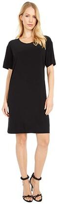 KAMALIKULTURE by Norma Kamali Short Sleeve Boxy Dress To Knee (Black) Women's Dress