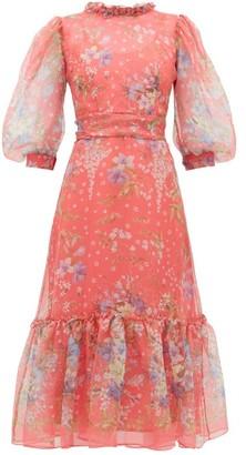 Luisa Beccaria Floral-print Silk-gauze Midi Dress - Womens - Pink Multi