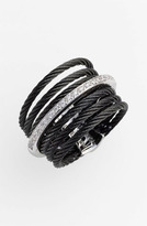 Charriol Exclusively by ALOR 'Classique' 7-Row Cable & Diamond Ring