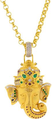 Buddha Mama Large Emerald, Sapphire, and Diamond Ganesha Pendant