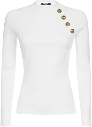 Balmain Button Detail Fitted Jumper
