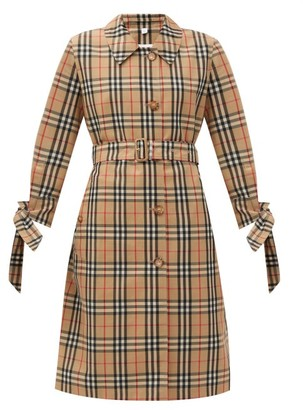 Burberry Claygate Vintage-check Gabardine Trench Coat - Beige Multi