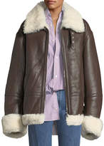 Vetements Shearling Fur-Lined Leather Jacket