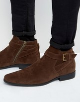 Asos Chelsea Boots in Brown Faux Suede With Strap Detail