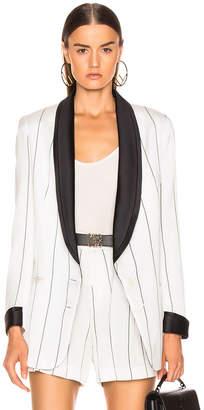 Smythe Salon Blazer in White & Black Diagonal Stripe | FWRD