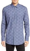 Sand Blueflower Regular Fit Sport Shirt