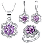 YOUTOTCRY 18k White Gold Austrian Crystals and Cubic Zirconia Ring Necklace Earrings Jewelry Set