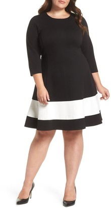 Eliza J Long Sleeve Fit & Flare (Plus Size)