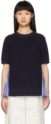 Sacai Navy Striped Knit Pullover