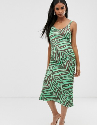 Asos Design DESIGN scoop neck midi satin slip dress in zebra print-Multi