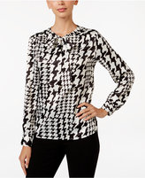 Kasper Charmeuse Houndstooth-Print Tie-Neck Blouse