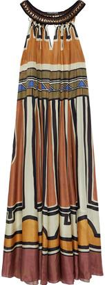 Alberta Ferretti Embellished Macrame-trimmed Printed Silk Maxi Dress