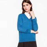 Paul Smith Women's Dark Turquoise Merino Wool V-Neck Sweater With Stripe Detail