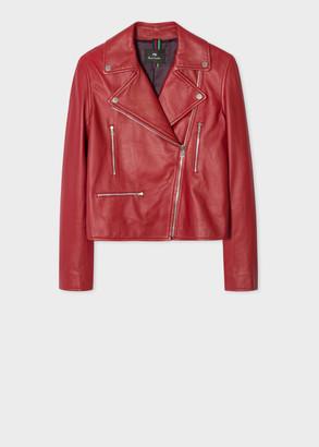 Paul Smith Women's Red Leather Biker Jacket