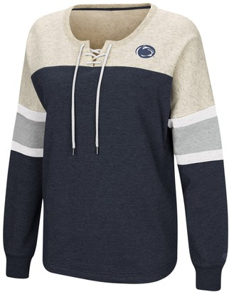 Colosseum Women's Navy Penn State Nittany Lions Become Great Lace-Up Pullover Fleece Sweatshirt