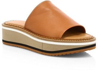 Clergerie Fast 3 Leather Wedge Mules