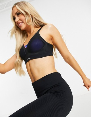 Shock Absorber high support plunge sports bra in black and blue